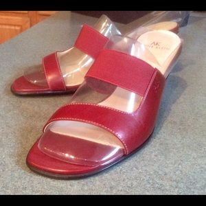 And Klein red leather sandals